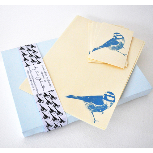 Boxed stationery set: Blue Tit (Blue and Cream)