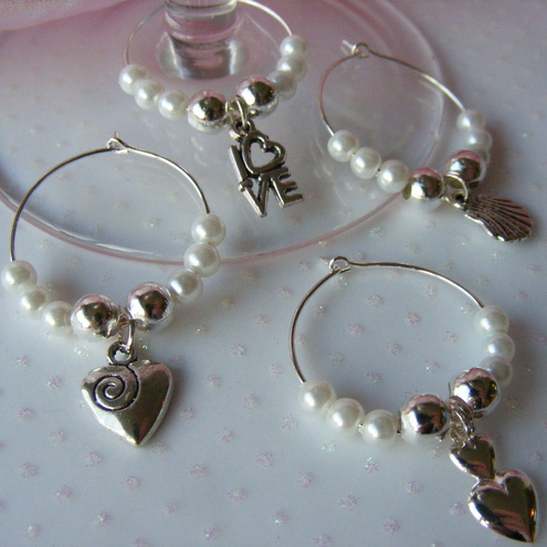 Folksy Buy Quot Set Of Four White Wine Glass Charms