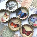 butterfly bottle cap magnets