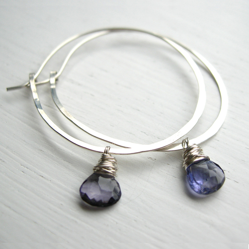 Blue Gemstone Hoop Earrings