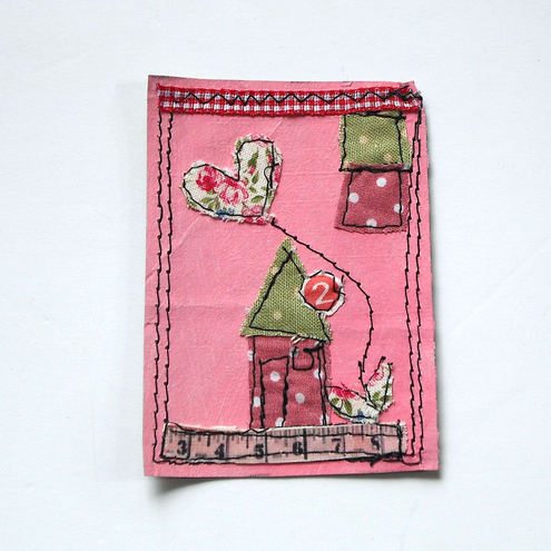 ACEO mixed media fabric