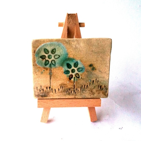 Ceramic ACEO - Teal Flowers