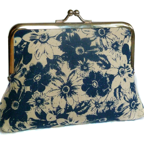 blue flowers silk lined purse