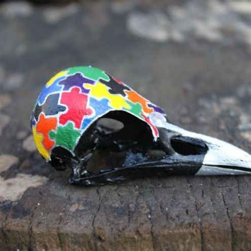 Catbird Craft - Jigsaw Painted Magpie Skull