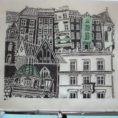 City Windows 102 Linoprint by Zebedee on Folksy