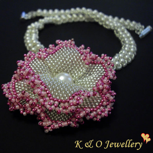 Hand Beaded Swarovski Pearl & Crystal Rose Necklace