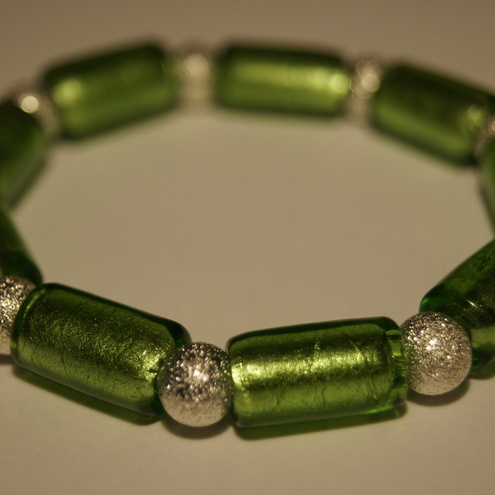 Apple green and silver bracelet