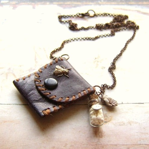 miniature vintage purse necklace