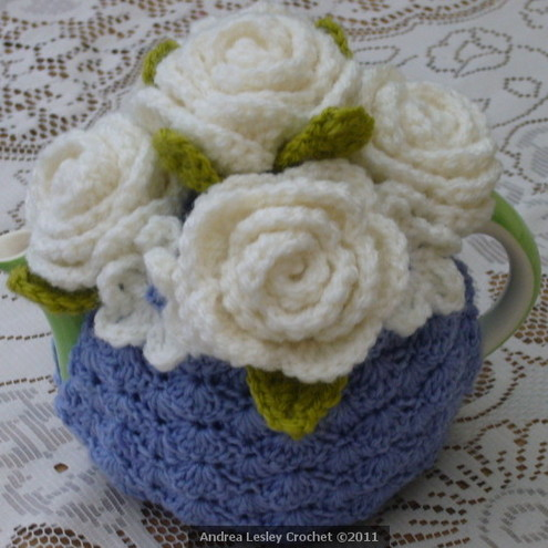 2-Cup Crochet Tea Cosy in Lilac with White Roses by Andrea Lesley Crochet