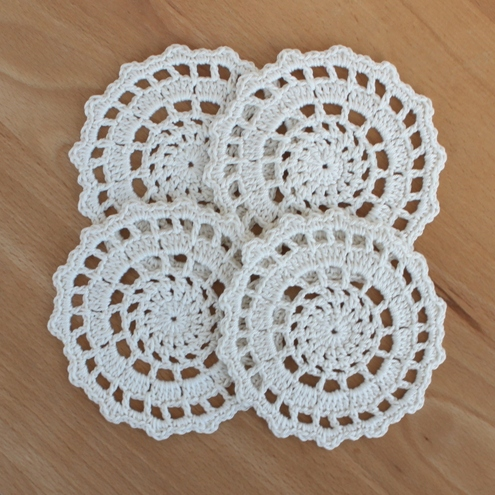Crochet Patterns To Buy : Folksy :: Buy Crochet Set of 4 Cream Doilies / Coasters Craftju...
