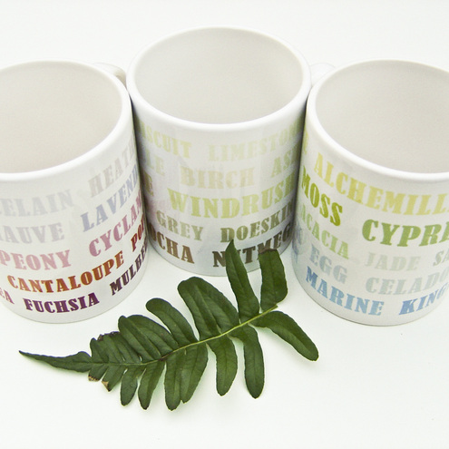 Typography Letterpress Print Mugs - Set of Three in Turquoise, Blue, Green, Red, Pink, Gray, Brown by KitzieG.