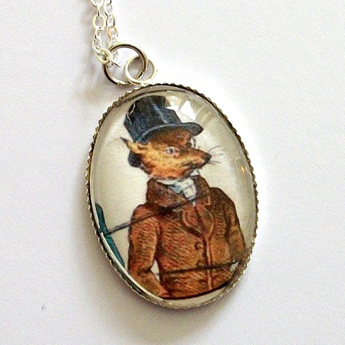 Mr Fox Looking Fantastic Steampunk Pendant Necklace by Coucou Heart unusual unique jewellery
