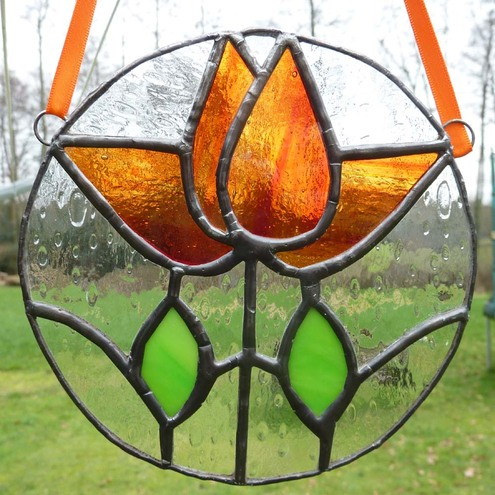 Orange Tulips - Victorian Style Stained Glass Light Catcher by Sugar Lips Glass