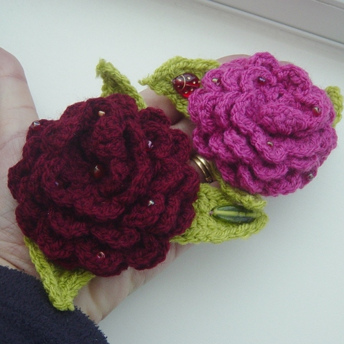 Raspberry and Burgundy Crocheted Be-jewelled Corsages by NOfkantsCurios