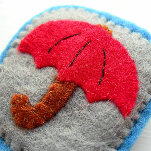 Umbrella, Felt Brooch - by Lupin Handmade @folksy