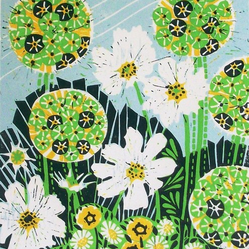 Allium and Cosmos lino print