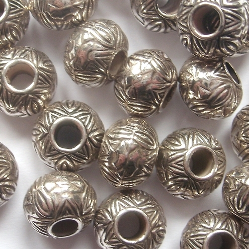 Antique silver morroccan beads
