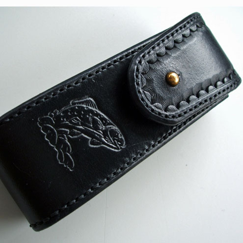 Black multi tool case with trout motif