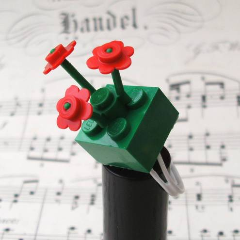 emporal Flux - Red & Green LEGO Flowers Adjustable Ring