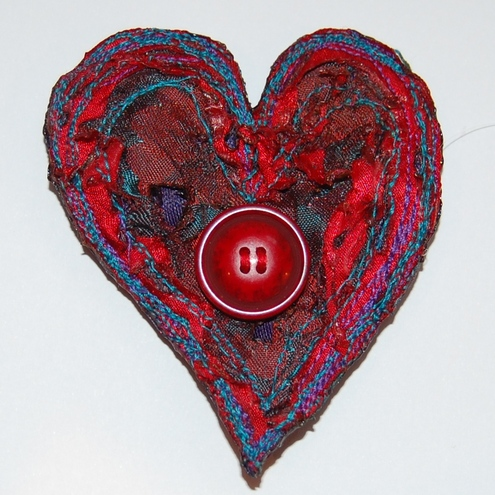 Petal Textiles - Heart Brooch Card