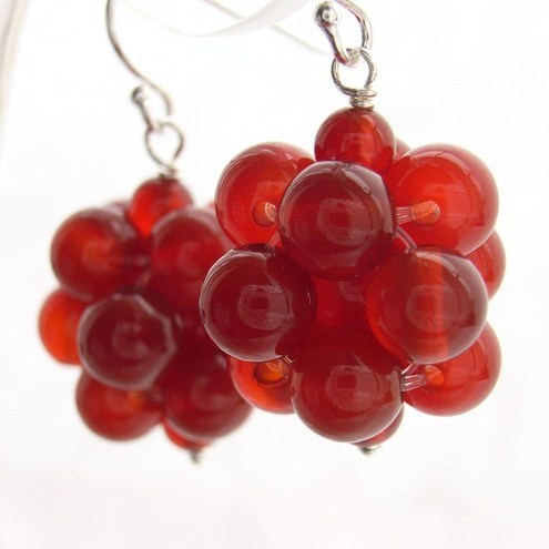 carnelian handmade beaded earrings