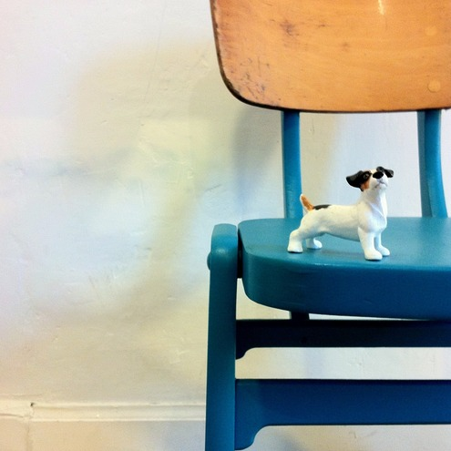 Up cycled vintage 1960s bent plywood dining chair - Turquoise blue