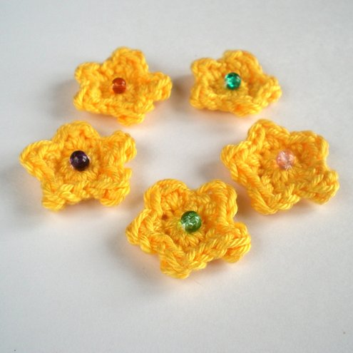 Yellow Crochet Flowers