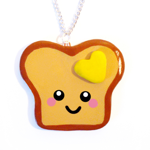 Happy Toast Polymer Clay Necklace