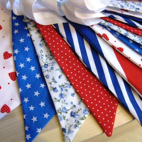 British Red White & Blue Union Jack Fabric Bunti