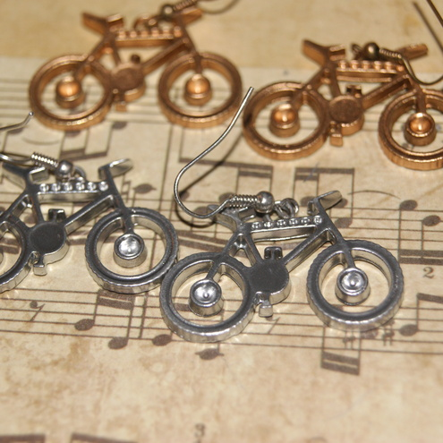 Silver or gold bicycle earrings by sweetdelirium