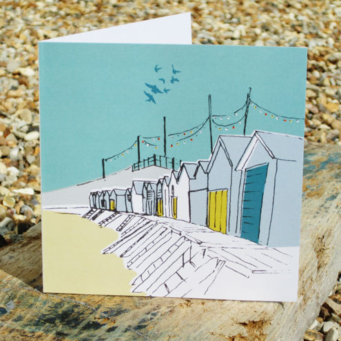 Beach Huts Notecard