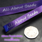 One metre of PURPLE personalised decorative satin ribbon.