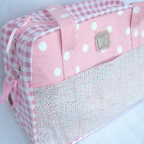 PidgeonStitch - Pink Spot Overnight Bag