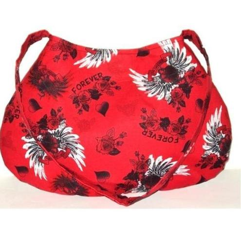 Red Forever Tattoo Hearts Roses Punk Goth Handbag, READY TO SEND