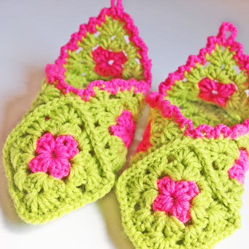 Crochet Pattern Cuffed Boots Slippers in Women and Kids Sizes PDF
