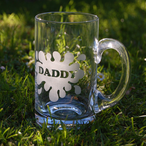 Personalised glass beer tankard for Fathers' Day