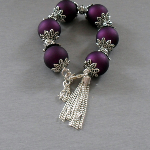 Chunky purple and silver bracelet