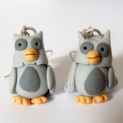 Grey Owl Fimo Earring