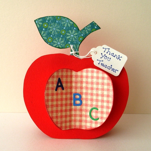 Folksy buy thank you teacher apple shaped card for Thank you crafts for teachers
