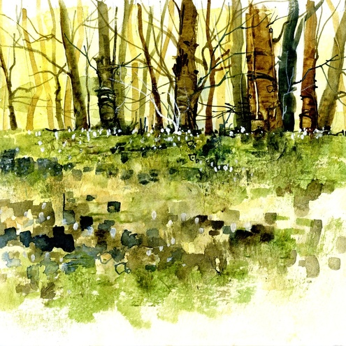spring trees watercolour painting