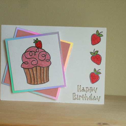 strawberrry cup cake card