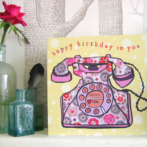 Design Rocks! - Vintage Phone Birthday Card