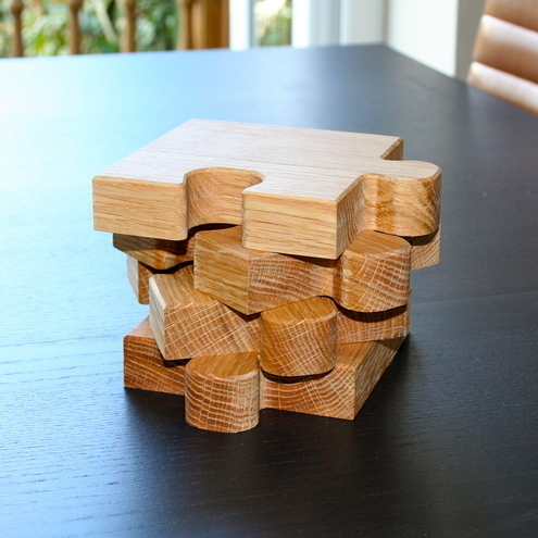 SquarePear Furniture - Oak Jigsaw Coasters & Trivet