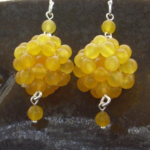 yellow jade gemstone earrings