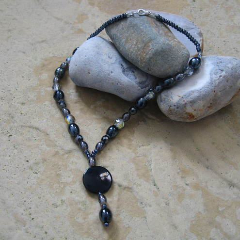 Lynette Jewel, grey & black Y necklace, £8