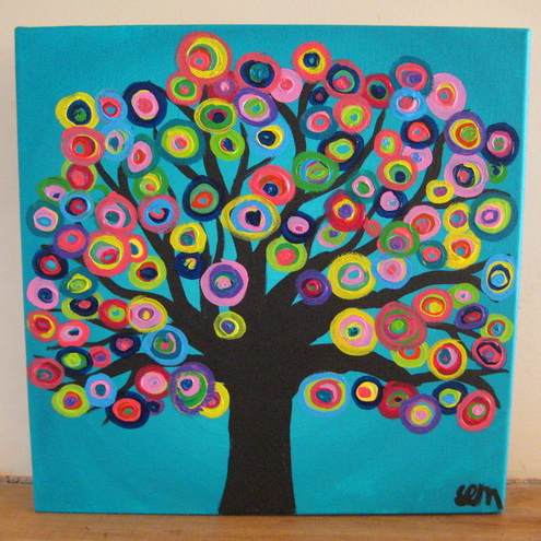 Turquoise Abstract Circle Tree Painting on Square 12 x 12 Canvas