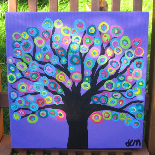 Purple Abstract Circle Tree Painting on square 12 x 12 Canvas