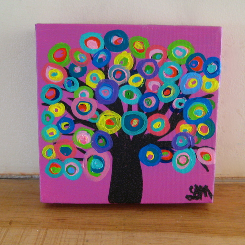 Pink Abstract Circle Tree Painting on 6 x 6 Square Canvas