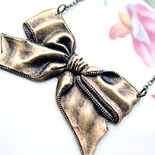 Once Upon A Charm - Big Brass Bow Necklace