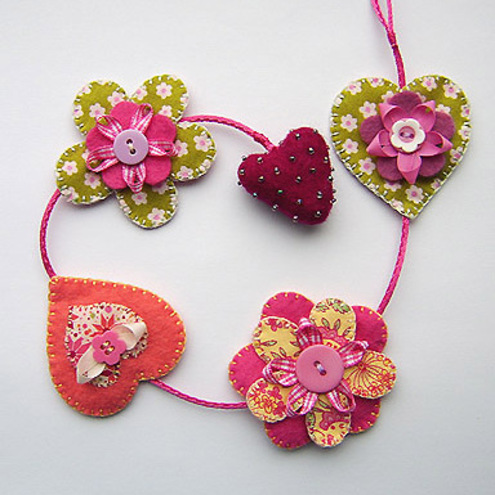 Folksy buy hearts and flowers hanging decoration for Decorative flowers for crafts